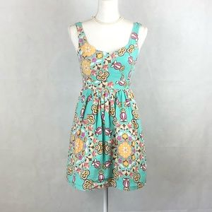 Anthro Judith March Floral Print Open Back Dress